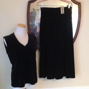 NWT Chico's Black Velvet Pants/Top in Size 1